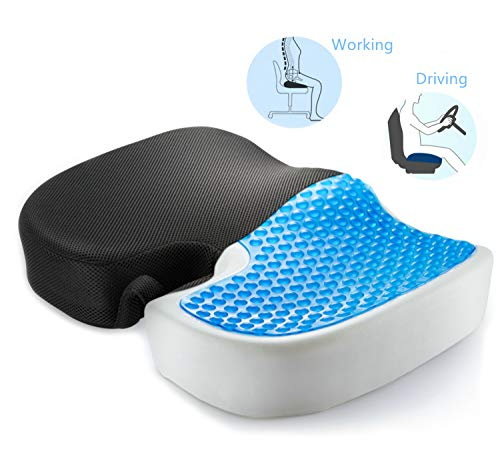 PROMIC Cool Gel Enhanced Memory Foam Seat Cushion for Office Chair, Tailbone Pain Back Pain Relieve Cushion Car Seat Cushion Pad - Ergonomic Design for Coccyx Comfort & Sciatica Relief (Non-Slip)
