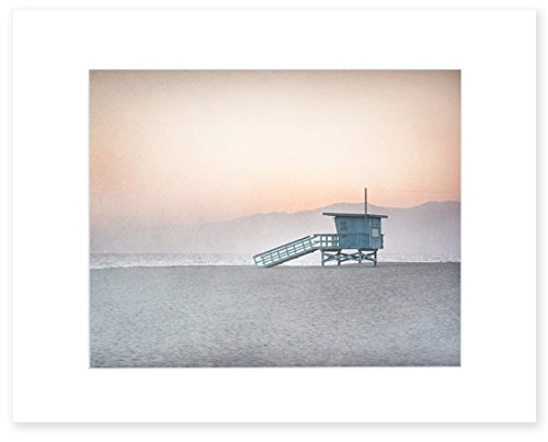 (Pink Beach Art, Coastal Wall Art, Beach Wall Decor, California Print, Venice Beach Picture, Los Angeles, Santa Monica 8x10 Matted Print (fits 11x14 frame) 'Lifeguard)