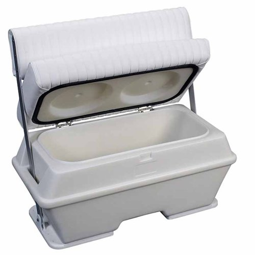 Moeller Deluxe Permanent Mount Swing Back Cooler or Livewell Boat Seat (72-Quart, 37'' x 18.5'' x 34.5'') Capacity, White