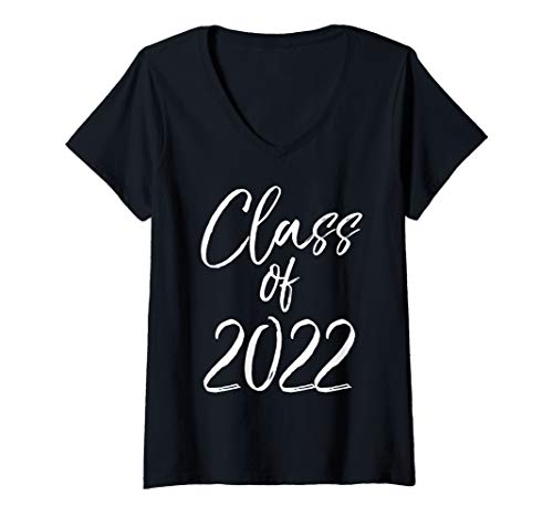 Womens Fun Matching High School Class of Gifts Cute Class of 2022 V-Neck T-Shirt