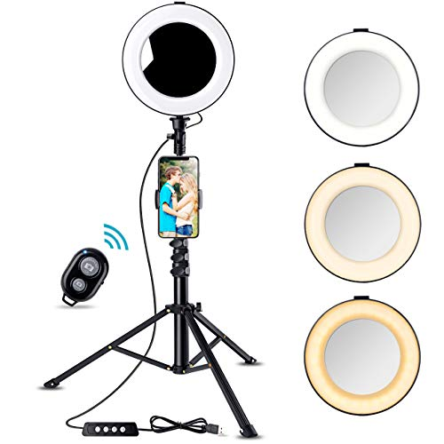 8 Selfie Ring Light with Tripod Stand & Cell Phone Holder for Live Stream/YouTube Videos, Bosledy Makeup Lights with Mirror, Mini Led Camera Ringlight for Photography