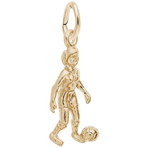 Rembrandt Charms Female Soccer Player Charm, 10K Yellow Gold