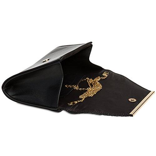de CASPAR avec pour effet Sac Pochette longue croco Noir chaînette Clutch stylé TA386 femme soirée enveloppe à main r4YE6rq