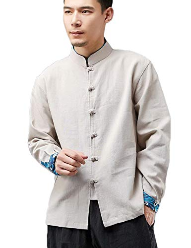 LZJN Men's Chinese Traditional Style Shirts Tang Suit Kung Fu Jacket Casual Shirt (Beige, L)