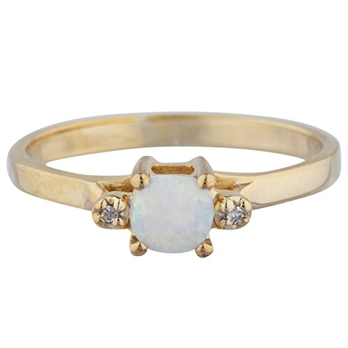 Genuine Opal & Diamond Round Ring 14Kt Yellow Gold Rose Gold Silver