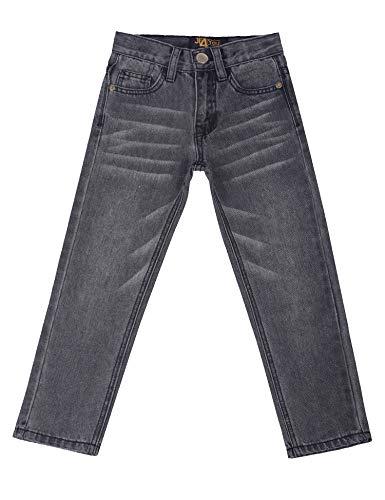 justfound4u Designer Jeans for Boys with Elastic Waist Denim Trousers Boys Jeans Adjustable Waist Inside Size 2 3 4 5 6 7 8 9 10 11 12 13 14 15 16 Years (Grey, 5-6 Years (EU 116)) Adjustable Waist Denim Jeans
