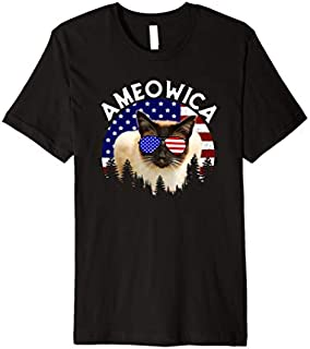 Siamese Cat Ameowica Funny Cat American Flag July 4th Premium T-shirt   Size S - 5XL