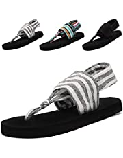6b42db2be60b HomyWolf Womens Slingback Yoga Flip Flop Casual Flats Sandals Beach Slipper  (5-6 B