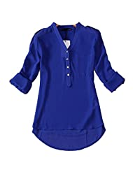 Women Solid Color Loose Chiffon Blouse Shirt Long Sleeves V-neck Button Tops
