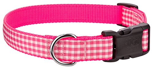 Country Brook Design | Deluxe Pink and White Gingham on Hot Pink Dog Collar - Large
