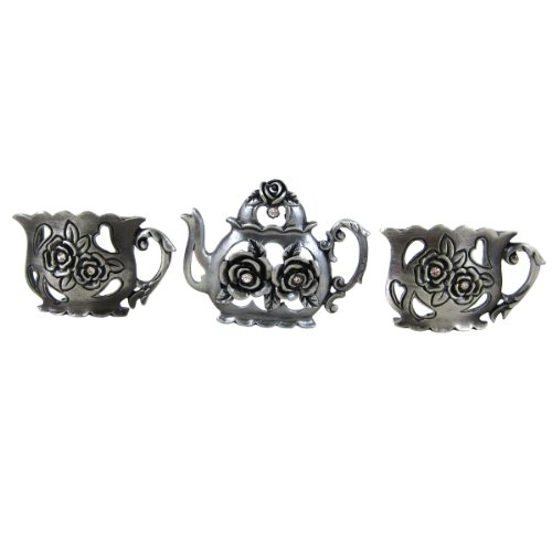Teapot Business Card Holder Stand for Place Cards, Memo, Post-it Note, Antique Silver, Set of 3 ()
