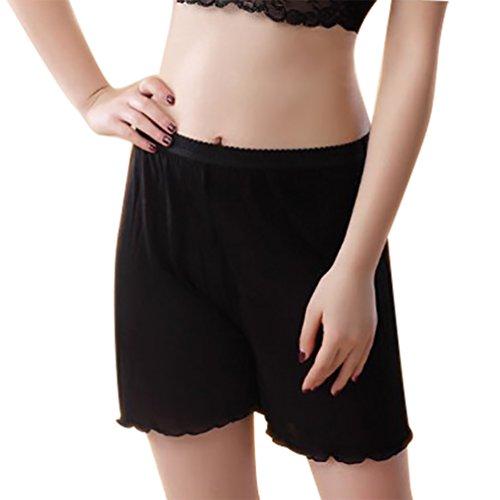 Baymate Mujer Lencería Pantalones Leggings Cortos Encaje Recorte Vaciada Anti Negro