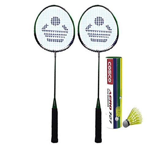 Cosco Cb 88 Badminton Racket Pair with Aero 727 Nylon Shuttle Cock