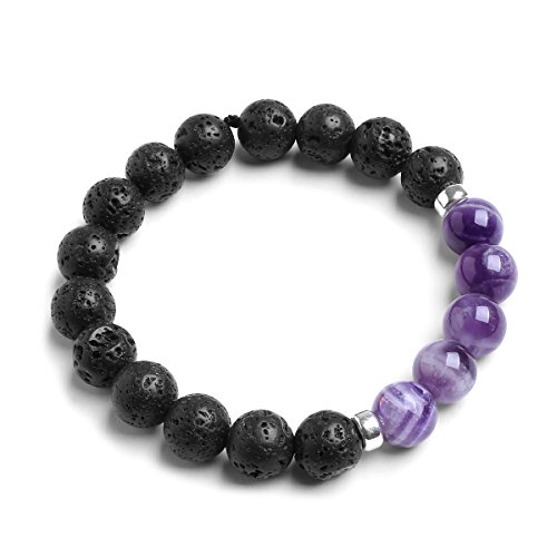 Candyfancy 10mm Natural Lava Rock Stone Elastic Beaded Semi Precious Energy Stretch Bracelet For 6.5-8 Inch Wrist (Natural amethyst)