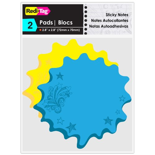 Redi-Tag Thought Bubble Notes 2 Pads, 3 x 3 Inches, Neon Blue/Yellow (22101) Photo #2