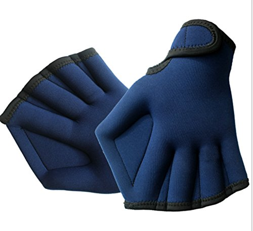 Hosaire Swim Gloves Aquatic Fitness Water Resistance Training Aqua Fit Webbed Gloves Blue