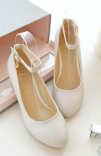 Strap Toe Chunky Womens Heel Solid Round Ankle Buckle Sweet Pumps White Charms Mid CHFSO naCq8TX4w4