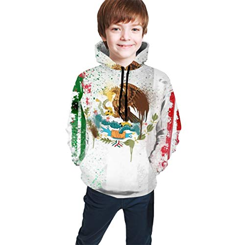 Colorful Spot Mexico Flag Art Teen Boys Girls Pullover Hoodies Drawstring Hooded Sweatshirts with Pocket Black