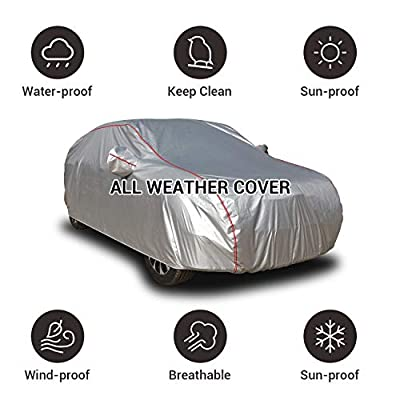 Shieldo Deluxe Car Cover with Build-in Storage Bag Door Zipper Windproof Straps and Buckles 100% Waterproof All Season Weather-Proof Fit 211-220 inches SUV: Automotive