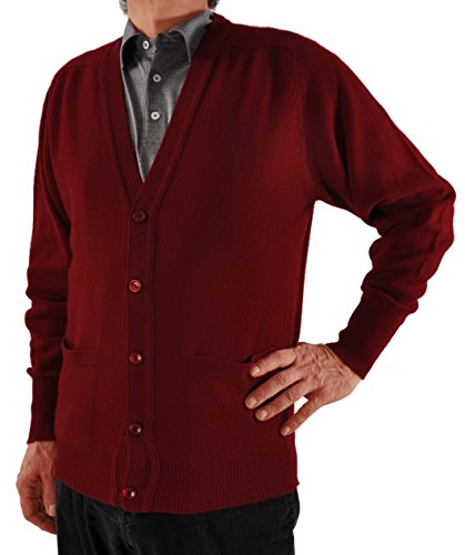 SCOTT Men's Scottish Cashmere Cardigan Sweater Burgundy-Medium