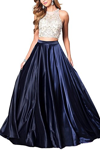 Women's Two-Piece Long Satin Prom Dress Evening Gown with Jeweled Bodice Navy Blue US8