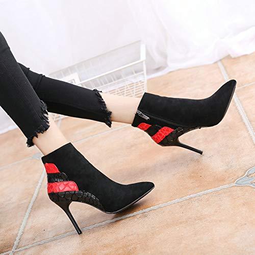 GTVERNH Frauen Schuhe Sexy Sexy Sexy Serpentine Farbe Spitze Hochhackige Schuhe Stiefel Nackt 9Cm Martin Stiefel Baitie Slim - Heeled schuhe Samt Kurze Stiefel Damenschuhe 915cfd