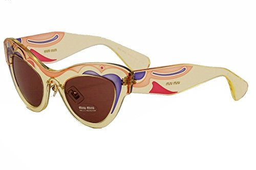 Miu Miu MU07PS Sunglass-TFC/0A0 Transparent Yellow (Dark Violet - Miu Buy Sunglasses Miu