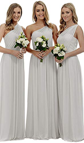 Staypretty Bridesmaid Dresses for Women Long One Shoulder Asymmetric Chiffon Prom Evening Gown Light Grey - Light Womens Wedding