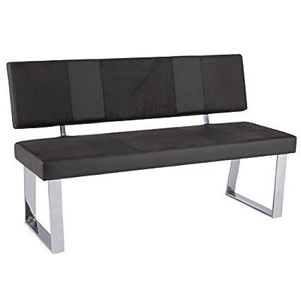 ESTO GmbH Panca con Schienale panca Santa Bari Sedile Pelle sintetica Supporto cromato - grigio-nero, 140 x 45 x 88 cm