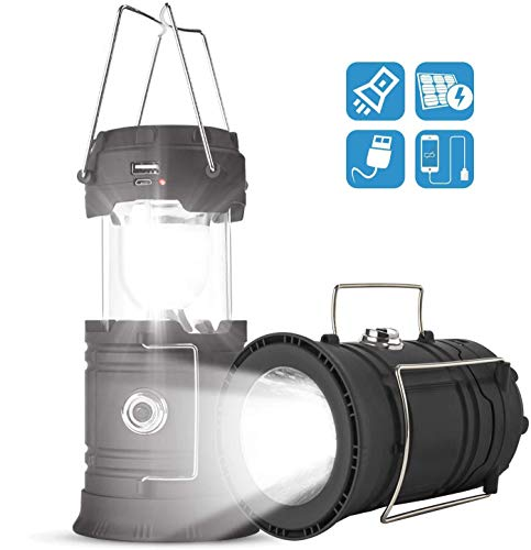LED Camping Lantern Solar Outdoor Camping Light Flashlight Rechargeable Lantern Handheld Hanging Light With Ultra Bright Flashlight Collapsible Lantern for Camping Hiking Emergency Lights Tent Lights