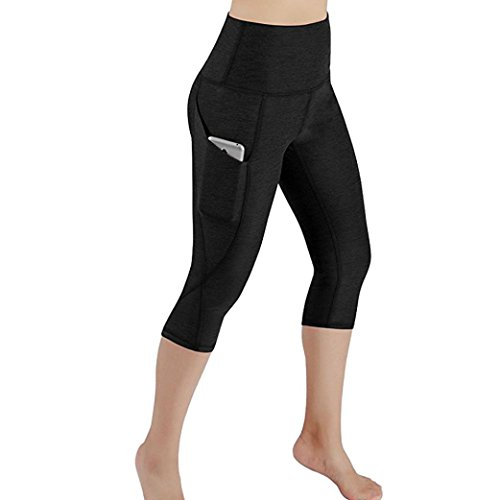Gillberry Power Flex Yoga Capris Pants Tummy Control Workout Running 4 Way Stretch Yoga Capris Leggings Side Pocket (Black, -