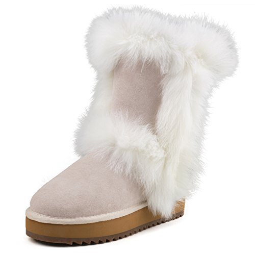 AUSLAND Women#039s Midcalf WoolLined Suede Leather Boot Platform Shoe White 85 US/39 EUR