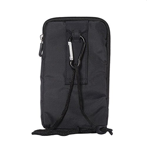 DFV mobile - Multi-functional Universal Vertical Stripes Pouch Bag Case Zipper Closing Carabiner for =>                     APPLE IPHONE 4 > BLACK XXM (18.0 X 10 cm)