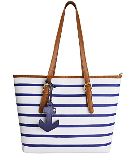 COOFIT Stripes Purse Tote Shoulder bag Womens Handbag PU Leather Purse with Sea Anchor Pendant Blue&White