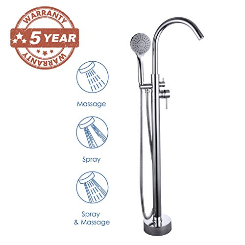 GAPPO Brass Freestanding Bathtub Faucet, Floor Mount Tub Filler Shower Mixer Taps with Hand Shower, Polished Chrome