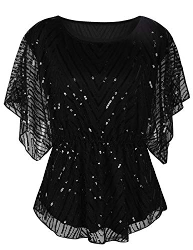 kayamiya Women's Sequin Blouse Glitter Beaded Party Wedding Evening Tunic Tops S/US8 Black