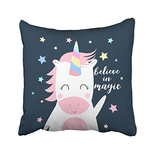 Sterling Bolster (Emvency Decorative Throw Pillow Cover Square Size 18x18 Inches Sweet Magic Unicorn Cartoon Nursery Pillowcase With Hidden Zipper Decor Cushion Gift For Holiday Sofa Bed)