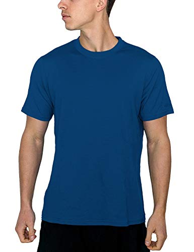 Woolx Men's Outback Short Sleeve Breathable, Moisture Wicking Merino Wool T-Shirt, Electric Blue, Large ()