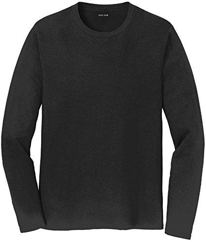Joe's USA(tm) Mens Long Sleeve 4.5oz Lightweight Soft Cotton T-Shirt-Black-L