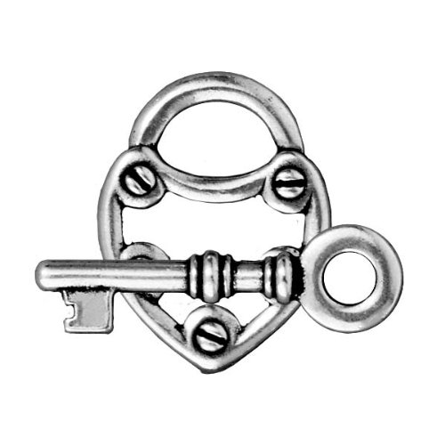 Antiqued Silver Plated Lead-Free Pewter Lock & Key Toggle Clasp 19mm (Lead Free Pewter Toggle Clasp)
