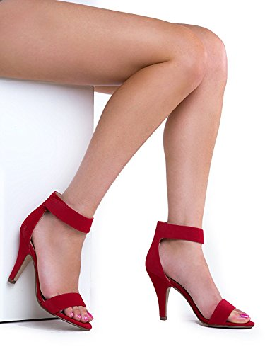 Heerlijke Soda Vrouwen Rosela Formele Jurk Sandaal Rode Nubuck
