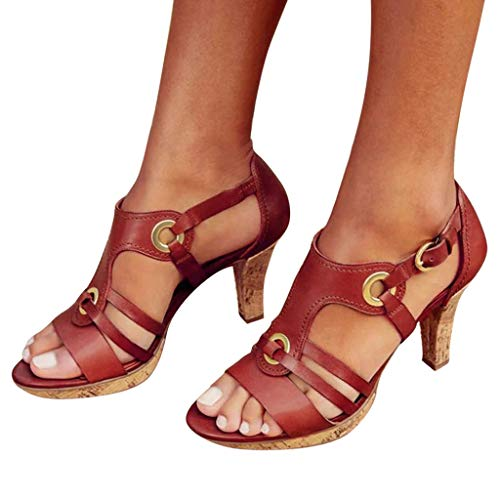 (Cenglings Rome Shoes,Women's Open Toe Strappy Hollow Out Ankle Strap Buckle Sandals Low Chunky Heel Pumps Beach Shoes Red)