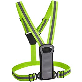 Athlé Reflective Vest and Bands with Phone and Storage Pouch, Adjustable Stretch Waist Belt – Neon Yellow Straps – High Visibility Safety Gear for Running, Jogging, Biking, and Hiking,