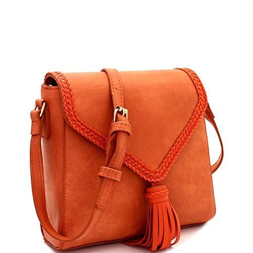 - Tassel Accent Braided Flap PU Leather Cross Body Shoulder Bag