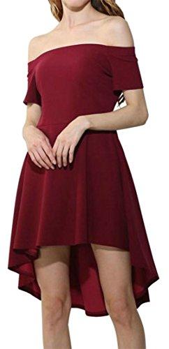 Cromoncent Femmes Épaule Taille Haute De Haute Robe Décolletée Partie Irrégulière Claret