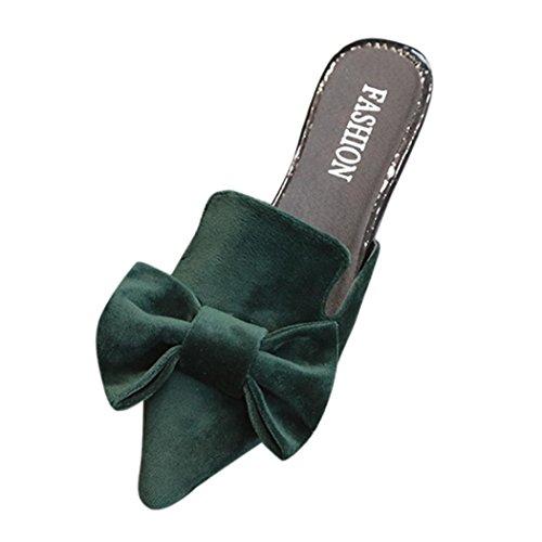 Digood Sandaler For Kvinner, Damer Ungjenter Elegant Bowknot Lukkede Tå Leiligheter Tøffel Casual Sko Grønne