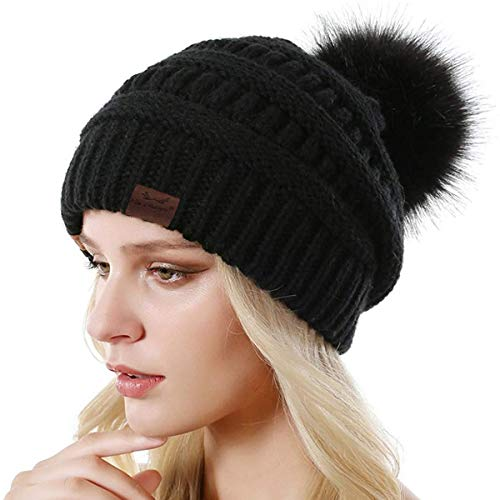 Win Change Womens Winter Knit Beanie Hat-Winter Knit Beanie Hat for Women with Faux Fur Pompom Winter Soft Warm Ski Cap One Pack(Black) (Black Leather Hat With Fur Ball On Top)