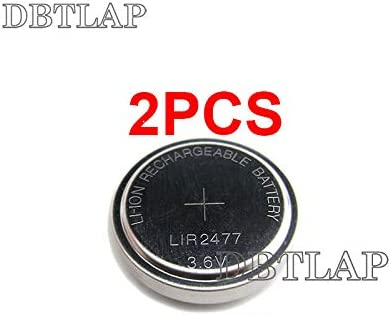 DBTLAP 2 PCS 3.6V LIR2477 Rechargeable Coin Button Cell Battery can Replace CR2477