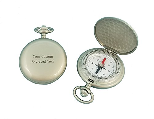 Stanley London Engravable Pocket Compass (Matte Silver, Front & Back - Pocket Compass Metal