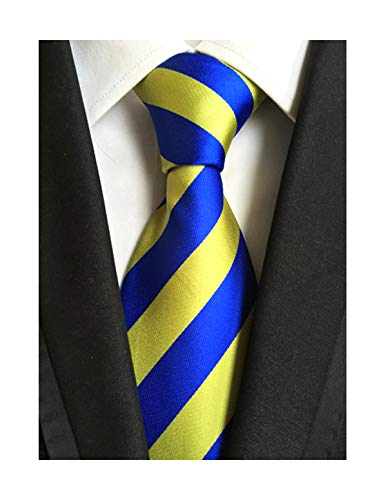 Elfeves Men's Modern Striped Patterned Formal Ties College Daily Woven Neckties (One Size, Gold Blue)
